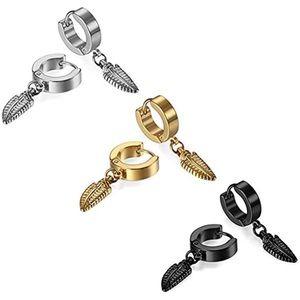 3 Pairs Stainless Steel Hoop Feather Earrings